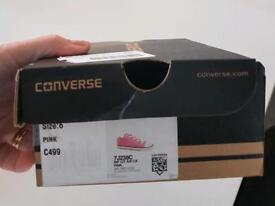 Girls pink size 6 converse in box