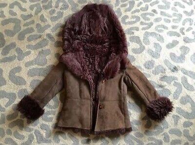 Shearling Leather Coat - Sheepskin Shearling Leather Lambskin burgundy/brown Coat Jacket size M