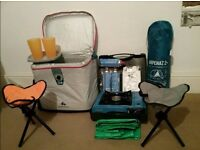 Set of camping gears: tents, chairs, compact cool bag & stools