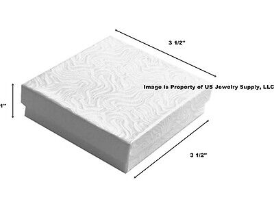 100 White Swirl Cotton Filled Jewelry Packaging Gift Boxes 3 12 X 3 12 X 1