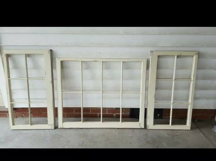 ANTIQUE WOOD WINDOW SASH PICTURE FRAME WEDDING SET OF 3 CREAM DISTRESSED