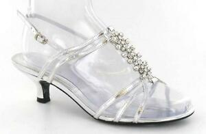 WOMENS WIDE FIT LOW HEEL WEDDING EVENING PROM SANDALS SHOES  3 - 8