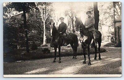 ANTIQUE Vintage WW1 GERMAN Real Photo RPPC Postcard SOLDIERS on HORSEBACK Horse