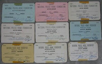 Lot of 9 1950's National Police Home Foundation Card Robert Cowles Steubenville