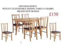 HOME Witley Extendable Solid Wood Table 6 Chairs