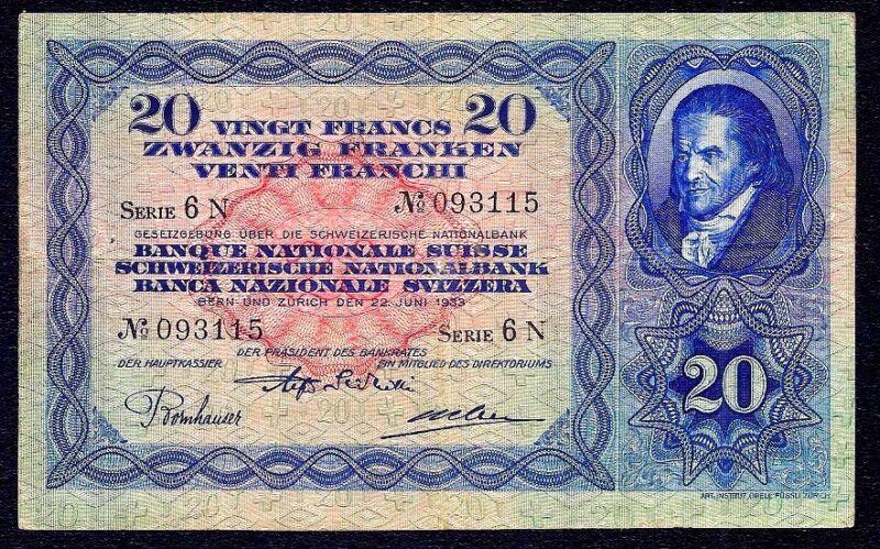 Switzerland 20 Franken 1933  P-39d