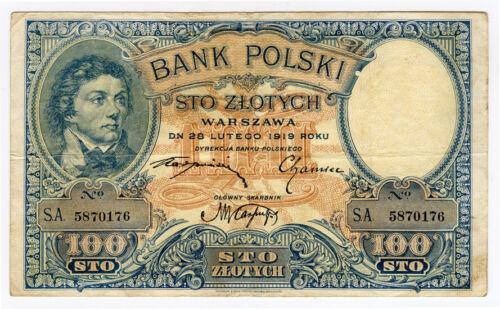 POLAND 1919 (1924) ISSUE 100 ZLOTYCH BANKNOTE CRISP VF.PICK#57.