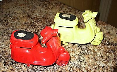 lot (2) 1960'S Lego VESPA MOTOR SCOOTER Porcelain Banks SCARCE collectible