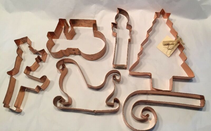 Vtg 90s USA  Made Solid Copper Cookie Cutters Christmas Set Of 6