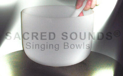 CRYSTAL SINGING BOWL 11 INCH CROWN CHAKRA NOTE B FROSTED CLEAR QUARTZ BOWLS NEW, used for sale  Little River
