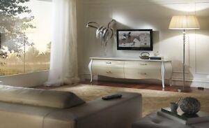 Mobile porta tv basso classico bombato bianco e panna for Mobile basso per soggiorno