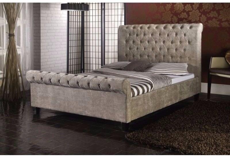 **UK BEST SELLING BRAND** BRAND NEW Double / King size Crushed Velvet Sleigh Designer Bed
