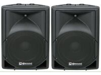 QTX 15A Active PA System Speakers (Pair) with Stands