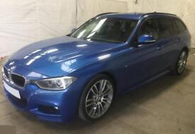 2015 BLUE BMW 320D TOURING 2.0 M SPORT DIESEL ESTATE CAR FINANCE FR £62 PW