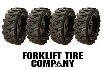10x16.5 Skidsteer Solid Tires And Wheels Set Of 4 31x10x20 Bobcat Cat Case