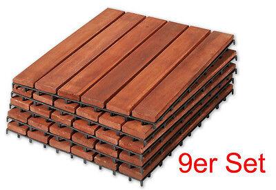 AKAZIE HOLZFLIESEN 9 er SET PLATTEN Balkonfliesen FLIESEN BODENPLATTEN 30x30 cm