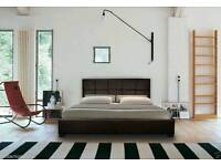 White faux leather double bed frame