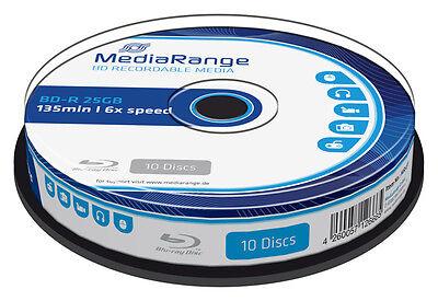 50 MediaRange Bluray BD-R Rohlinge 25 GB 6x fach Blu-Ray