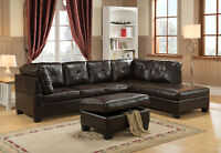Liquidation Boston bonded leather sectional with strong bouf