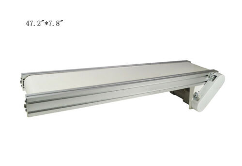 "TECHTONGDA 110V 47.2""*7.8"" White PVC Belt Conveyor Mesa Adjustable Speed"