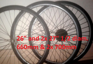 "1x26''(660mm) & 27""1/2 x1""1/4 WHEELS SET/ TIRES 95% NEW 5 GIRES"