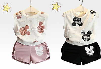 2Pcs Toddler Infant baby Girls Minnie Mouse T-Shirt Tops+Shorts Set Kids Outfits - Kids Minnie Mouse Outfit