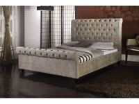 *FAST AND FREE DELIVERY* BRAND NEW CRUSHED VELVET SLEIGH DOUBLE BED FRAME WITH MATTRESS RANGE