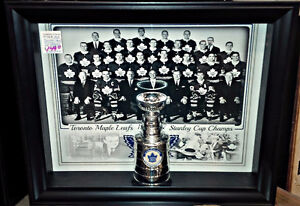 """JOHNNY BOWER AUTO/SIGNED 6"""" MINI LEAFS 11 STANLEY CUPS FRAMED"""