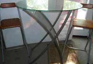 Glass table and folding stools Bar height