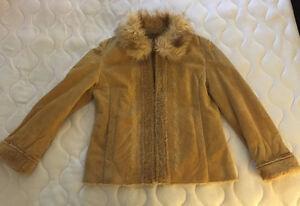 Manteau de suède avec col fourrure pour femme