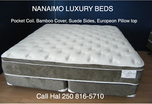 LUXURY MATTRESS SETS-POCKET COIL, BAMBOO COVER, SUEDE SIDES