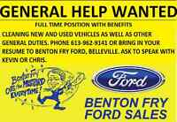 GENERAL HELP WANTED IN NEW CAR DEALERSHIP