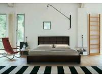 Kings size Leather bed with storage and mattress