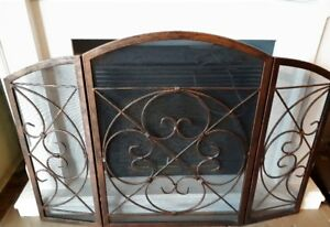 Fireplace screen bronze tone