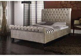 NEW BRAND Crush Velvet Fabric upholstered sleigh bed frame 3ft 4,6ft ,5ft, 6ft FRAME ONLY
