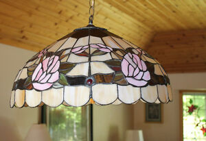 Tiffany Style Copper Foil Stained Glass Chandelier Rose Pattern