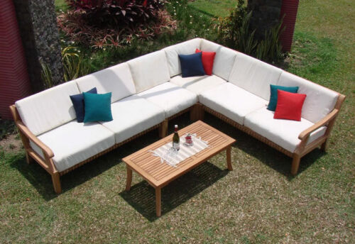 Giva A-grade Teak Wood 5 Pc Outdoor Garden Patio Sectional Sofa Lounge Set