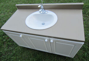 BATHROOM CABINET WITH COUNTER~TOP ~ SINK ~ TAP ~ WHITE ~