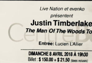 1 billet Justin Timberlake, The Man Off The Woods