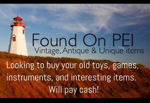 Paying cash for old toys, video games, instruments, antiques