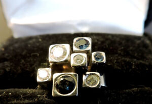 Diamond Ring with authentic Sapphires, white gold