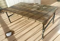 1912 BARN WOOD COFFEE TABLE WITH PIPE LEGS