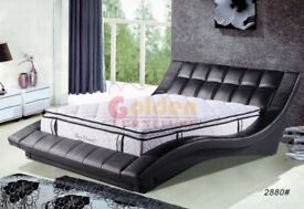Italian Faux Leather Designer Double Bed