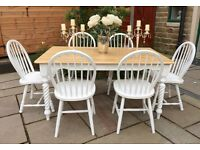 White Farmhouse Dining Table & 6 Chairs ~ Shabby Chic Dining Rectangular Table & 6 Chairs