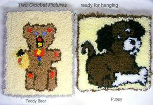Two rug hook Pictures, teddy bear and puppy, mounted, hang ready