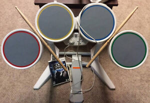 Drumset with sticks and Rockband Game!