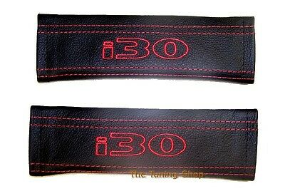 SEAT BELT HARNESS COVERS PADS BLACK LEATHER EMBROIDERY i30 FOR HYUNDAI