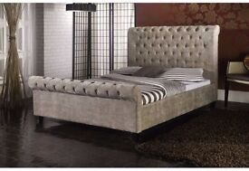 Differnt Colours! Double Or King Size Crushed Velvet Sleigh Designer Bed Frame and Mattress Optional