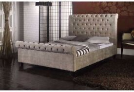 SPECIAL OFFER !! CRUSHED VELVET FABRIC SLEIGH DOUBLE SIZE BED FRAME IN BLACK / SILVER