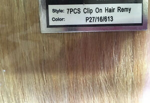 100% Human Hair 7pc 18 inch clip on hair extensions Cornwall Ontario image 6